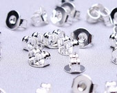 Silver Earring back stopper - earring stoppers earnuts 5x4mm - Lead free - Nickel free (494) - Flat rate shipping