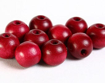Dollar Sale Clearance - 8mm burgundy red round Czech painted wood beads - 10 pieces (068)