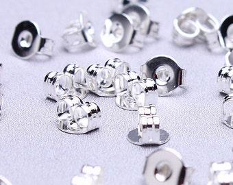Silver Earring back stopper - earring stoppers earnuts - 5mm x 4mm - Lead free - Nickel free (494) - Flat rate shipping