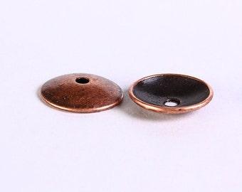 13mm antique copper rustic bead caps - antique copper beadcaps - Lead free - Cadmium free (645) - Flat rate shipping