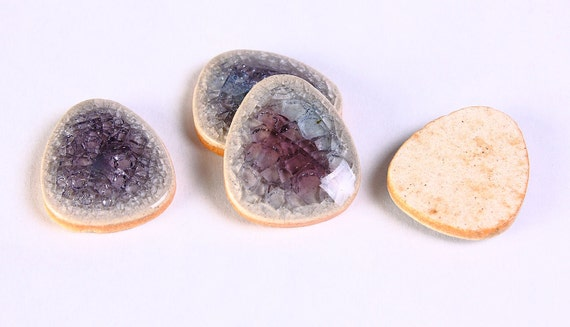 Black Friday Sale - 4 black purple crackle porcelain cabochons flat drop cabochon 4pcs 20x16mm (419)
