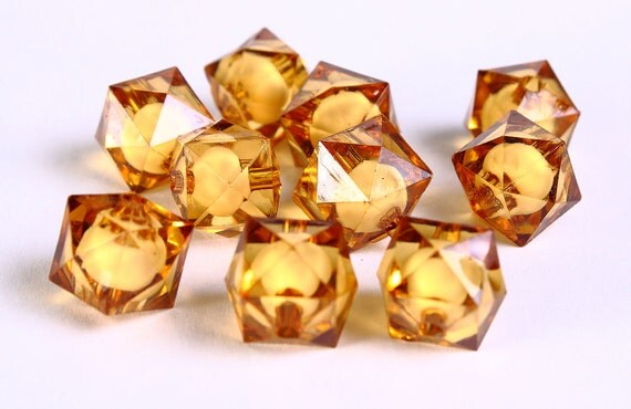 12mm brown miracle beads - bead in bead - topaz faceted cube beads - Gumball Bead - Clear beads - Gum ball beads (446) - Flat rate shipping