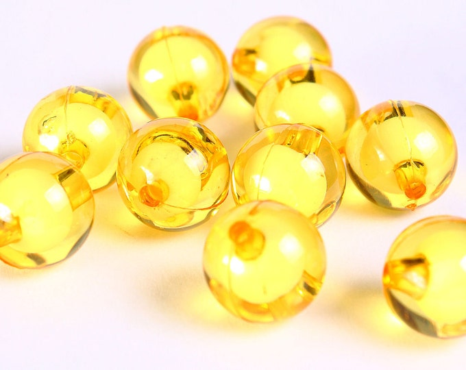 12mm Yellow miracle beads - bead in bead - Round beads - Gumball Bead - Clear beads - Gum ball beads (450) - Flat rate shipping