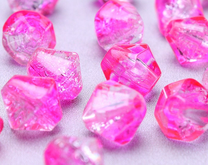 6mm to 8mm hot pink and clear crackled beads - mixed color bicone crackle glass bead (196) - Flat rate shipping