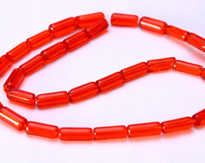 10mm Red tube beads - 10mm glass beads (660) - Flat rate shipping