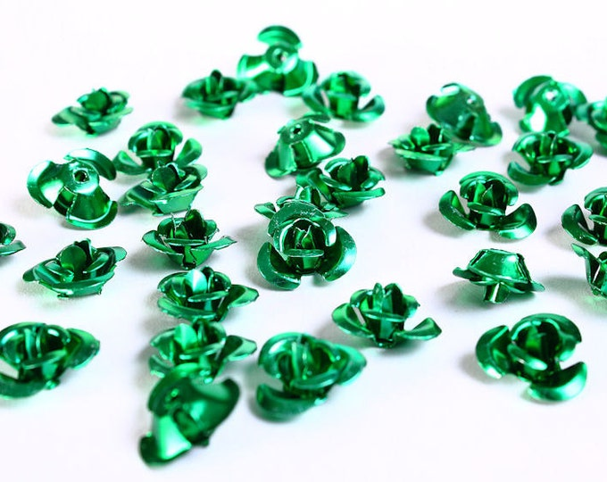 Sale Clearance 20% OFF - 30 12mm green rose flower aluminum cabochon bead 30pcs (687)