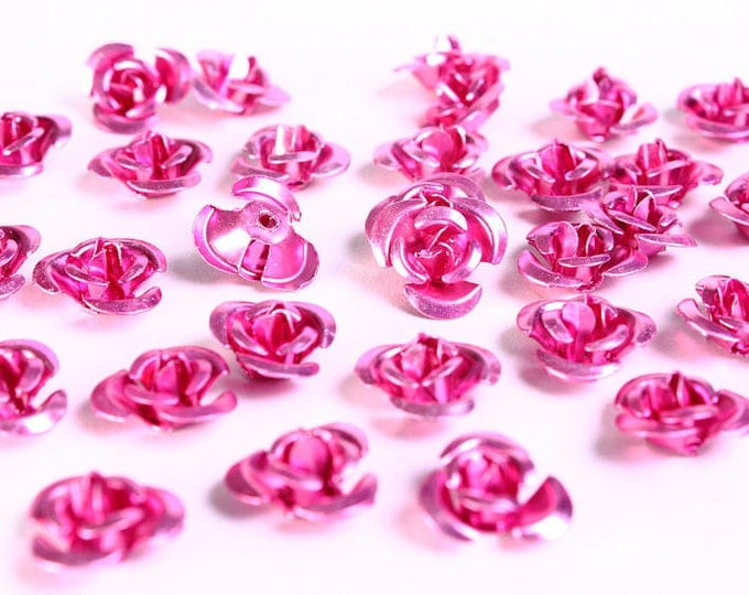 30 12mm pink rose flower aluminum cabochon bead 30pcs (693) - Flat rate shipping