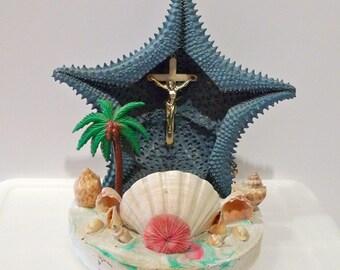 Sea Shell Lamp Vintage Starfish TV Lamp Nightlight lamp Beach Kitsch Tropical sea shell beach cottage crucifix palm tree grotto 1960s