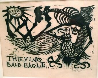 Leonard Baskin Skeleton Vintage Woodcut Grim Reaper 1950s Thieving the Bald Eagle Original Artwork Framed Goth Skeleton