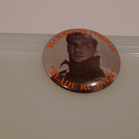 Blade Runner Pinback Button Harrison Ford Badge 1980s movie 1982 FREE SHIPPING