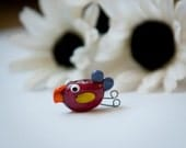 CLEARANCE - Fat Wine Colored Lampworked Bird Bead