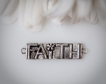 """STORE CLOSING! CLEARANCE LQSS14 - Sterling Silver """"Faith"""" Link"""