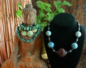 Turquoise Necklace - Statement Necklace - Chunky Beaded Necklace - Carved Cinnabar - Garnet Necklace - Ethnic Jewelry - Beadwork