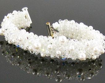 Crystal Pearl White Bridal Beaded Textured Bracelet-Fierce Miss Jude