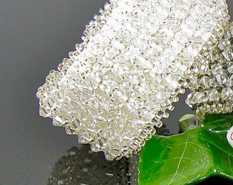 """Swarovski Crystal and Beaded Textured Hand Woven Bridal Cuff Bracelet-Miss Olivia """"Sparkly  Like a Holiday"""""""