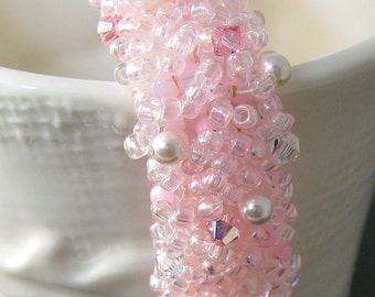 "Beach Wedding, Crystal Bridal Pearl Bracelet in Pink- Fierce Miss Jude ""Pink Blush"""