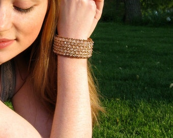 "Rose Gold Bracelet, Champagne Bridal Statement Bracelet, Swarovski Crystal Cuff-""Stay Golden"""