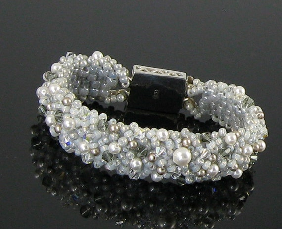 "Beach Wedding, Boho Chic, Bridal Bracelet Silver White andGray Pearl Black Diamond Crystal-Fierce Miss Jude ""Lovey-Dove"""