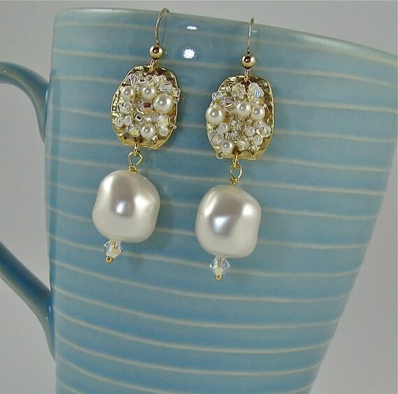 """Romantic Luxe Baroque Pearl Dangle Earring with Gold Jeweled Accent- """"Buongiorno Principessa"""""""