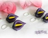 Dark calla. Hand sculptured. Purple calla. Flower earring. Calla earring. Polymer clay earring.