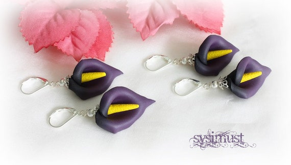 Dark calla. Hand sculptured. Purple calla. Flower earring. Calla earring. Polymer clay earring.