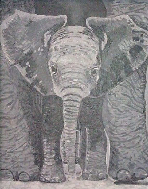 Reduced Price/Sale--A Mother's Touch--print on canvas paper of elephant acrylic painting in grey scale