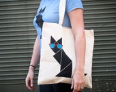 Black Cat Tangram Tote Bag with red & turquoise sunglasses printed on a canvas tote - HotlineInk