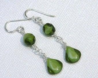 Emerald Green Czech Glass Dangle Earrings- Sterling, Wire Wrapped,Long Earrings