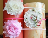 The Pink and White Collection Shabby Chic Flower Headbands - Pink and White Trio Headbands 3 Pack.. Baby Girl...Little Girl..Made to Order