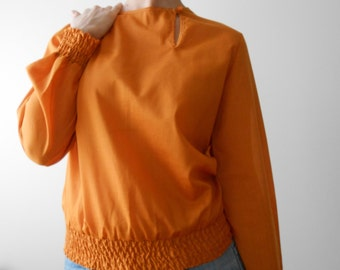 vintage smocked Peasant Blouse burnt orange- S - 70s