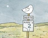 Snowy Owl Alaska Sign Print - 100owls