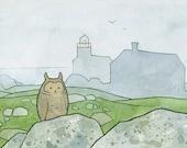 Owl and Foggy Island ink illustration 5x7 Print