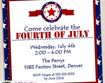Graphic Design - Patriotic - 4th of July - Independence Day Party - Invitation - DIY Printable