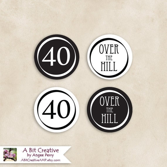 Graphic Design - Black & White Cupcake Topper - 40 Over The Hill 40th Birthday - DIY Printable