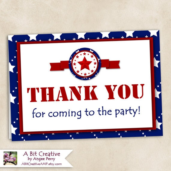 Graphic Design - Patriotic - 4th of July - Independence Day Party - Thank You Card - DIY Printable