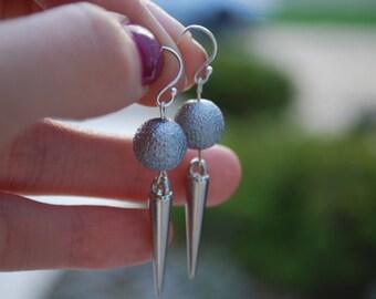 Silver Pearl Earrings -- Silver Pearls, Silver Daggers, Silver