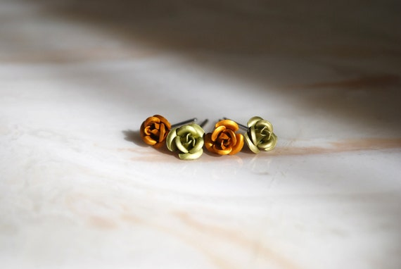 Tiny Rose Studs - Yellow, Green, Sterling Silver