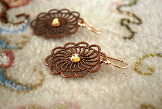 Bronze Filigree  Earrings - Bronze Filigree, Swarovski Crystals, Rose Gold Hooks