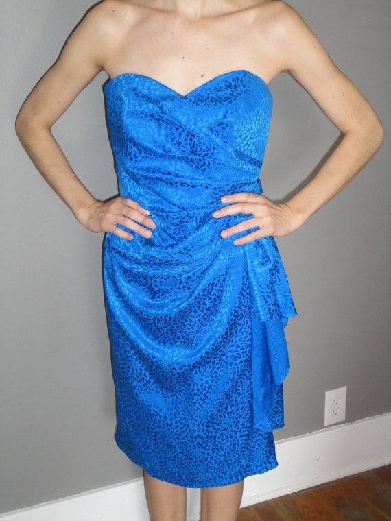 Vintage 80's Cerulean Blue Silk Cocktail Dress