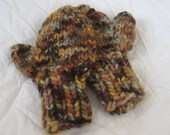 Clearance  TODDLER MITTENS, Handknit, 2-4 yrs (light brown mix) - Ships Now