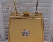 Special Sale: Unusual and Gorgeous Vintage Gold Handbag with Limoges Medallion with Rhinestones