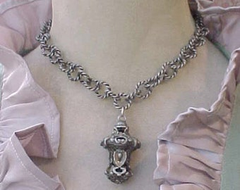 Fabulous One of a Kind Byzantine Look Necklace Made of Antique Necklace and Pendant