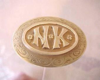 "Beautiful Long Art Nouveau Era Hat Pin with Lady's Initials ""N.K."""