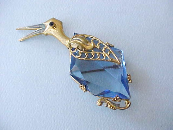 Gorgeous and Unusual Large Czech Bird Brooch with Blue Glass Body
