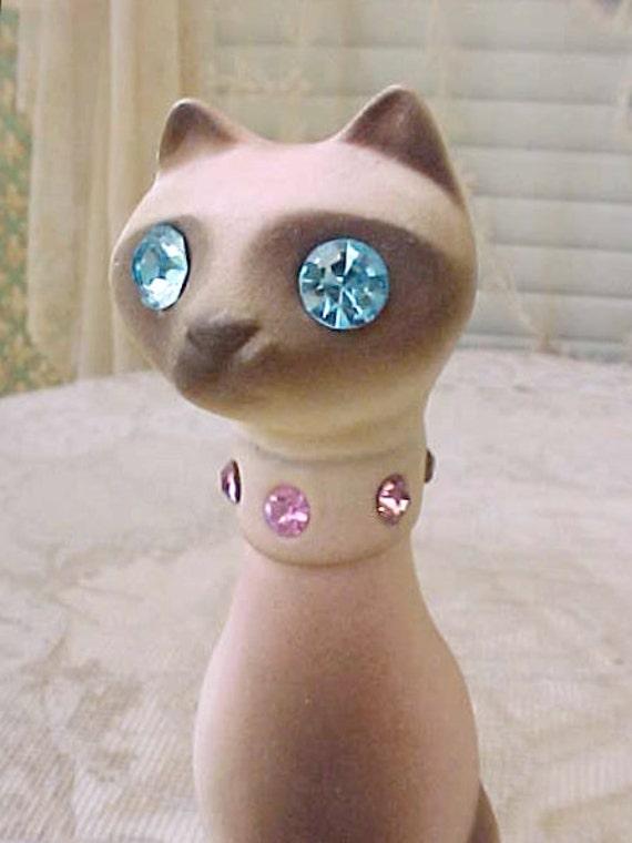 Darling 1950's Jeweled Cat Figurine with Pink Rhinestone Collar and Aqua Rhinestone Eyes