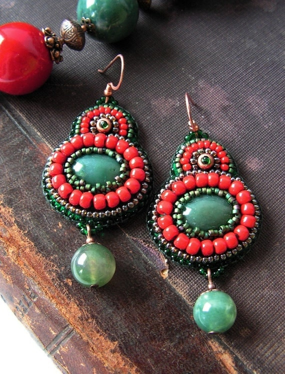 Beadwork Earrings Bead embroidery Earrings Bead embroidered jewelry Boho style earrings Green Red Brown  MADE TO ORDER