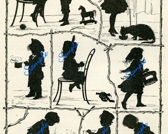 TREASURY ITEM-Digital Download-Vintage Page of Children Silhouettes for  craftwork