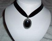 Hematite Pendant necklace black Velvet Choker Gothic steampunk Victorian Scottish Celtic haematite healing stone jewelry womens  accessories