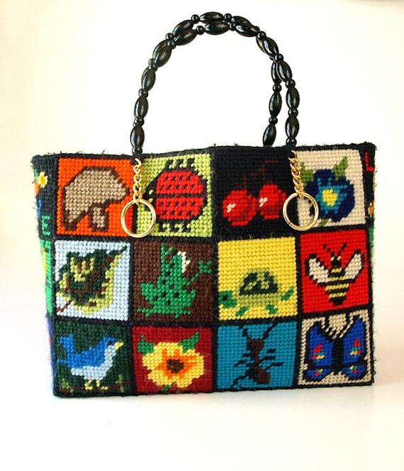 vintage 60s 70s mod handbag PURSE mushroom lady bug cherries turtle frog butterfly bird bee needlepoint boxy