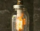 Mason Jar Lighting Chandelier Lighting Shabby Chic Lighting Mason Jar Lamp Hanging Light  - Vintage Industrial Rope Design